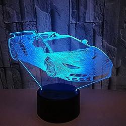 3D Voiture de Sport LED Lampe Art Déco Lampe la Couleur Changeant Lumières LED Décoration Maison Enfants Meilleur Cadeau Lumière Touch Control 7 Couleurs Change USB Lampes Bureau Powered