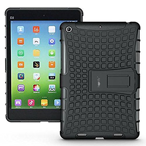 Heartly Flip Kick Stand Spider Hard Dual Rugged Armor Hybrid Bumper Back Case Cover For Xiaomi Miui Mi Pad 7.9 - Rugged Black