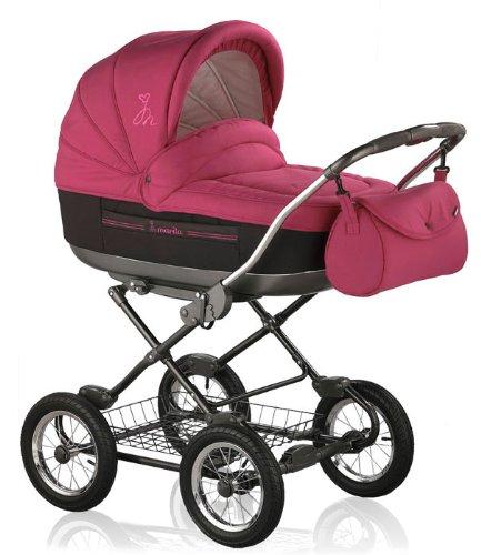 """Kinderwagen Roan """"Marita"""" in Design PINK-SCHWARZ (Fb. SC-05) - inklusive passendem Sportsitz und Sonnenschirm - weitere 41 Farbdesigns bei uns erhältlich"""