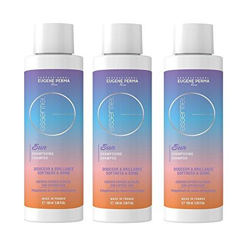 EUGENE PERMA Professionnel Shampooing Solaire Essentiel Sun Brillance/Douceur pour Cheveux Exposés au Soleil 100 ml - Lot de 3