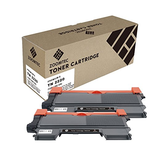 ZOOMTEC 2 Pack Compatible para Brother TN2220 Negro Cartucho de Tóner para Brother DCP-7057 DCP-7060D DCP-7065DN DCP-7070DW HL-2220 HL-2240 HL-2240D HL-2242D HL-2250DN HL-2270DW HL-2280DW