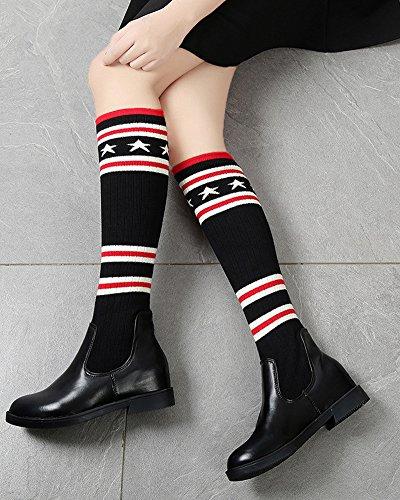 Femmes Bottes Hautes Longue Au Dessus Du Genou Élégant Couture Chaussettes En Tricot Élastique Chaussures Plates Mode Boots Noir / 41 CM