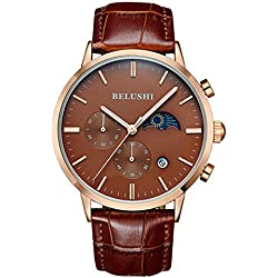 Mens Daytime And Night Display Watches Full Genuine Leather Male Waterproof Casual Dress Sport Wrist watches Brown