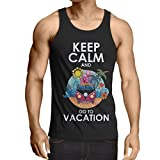 N4442V Camiseta sin Mangas Keep Calm and Go to Vacation (XX-Large Negro