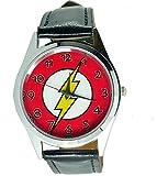Taport® Bolt Thunder Electro Flash Slash montre à quartz Marvel Noir véritable bracelet en cuir + pile de rechange + sac cadeau gratuit