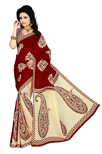 vimalnath Women's Georgette Saree With Blouse Piece (Sanch1_Red)
