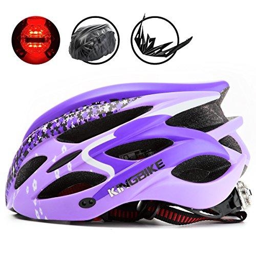 KING BIKE Adulte Hommes/Femme Casque de Vélo Cyclisme,avec Sécurité Arrière Casque de Lumière LED/Housse de Pluie/Léger/56-60CM (Violet, XL:59-63CM)