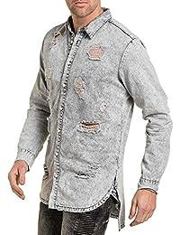 Sixth June - Chemise en jean homme grise destroy oversize