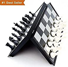 Famous Quality Folding Materials and Smooth Surface Magnetic Chess Board, 9.5-inch (Black and White)
