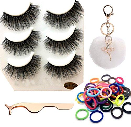 Sansee 3 Paare Lange Falsche Wimpern + 1 Stück Wimpernclip+ 1Stück Schlüsselbund + 50 pcs Haarband