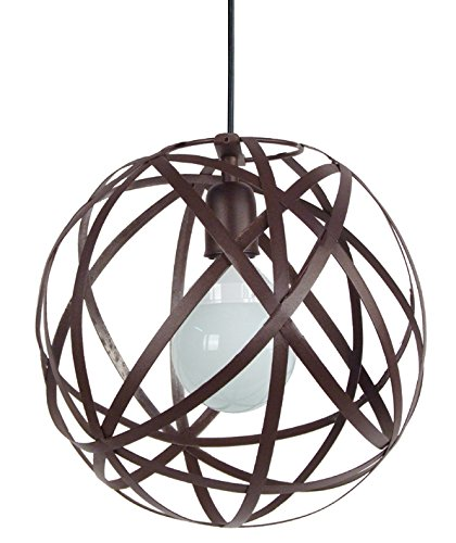 tosel-12101-suspension-globe-juno-acier-100-w-e27-marron