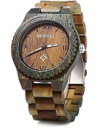 Bewell ZS - W065A Reloj  de Madera de Cuarzo Analógico para Hombre Visualización de Fecha