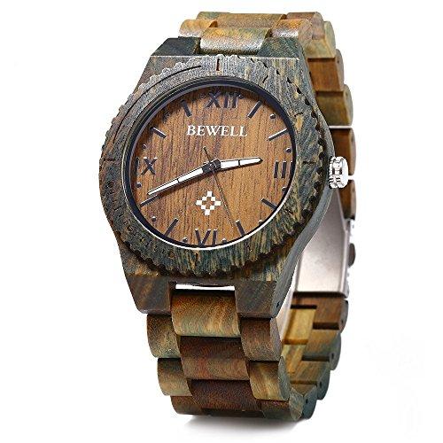 BEWELL ZS-W065A Orologio da Uomo di legno al Quarzo Quadrante Luminoso Scala di Numeri Romani Orologio da Polso colore pallisandro