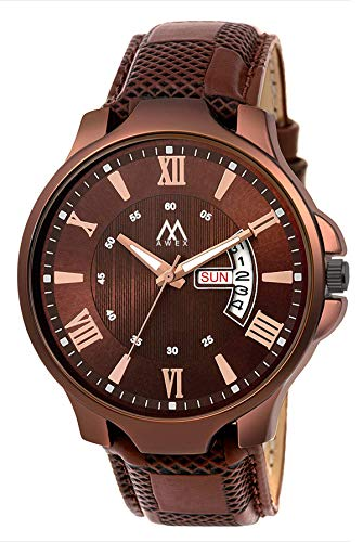 FASHION POOL Date & Day Designer Analogue Brown Dial Men's & Boy's Watch