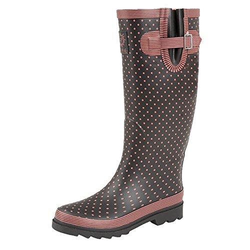 Gummistiefel mit Punkten, Polka Dots, Im Biker-Stil, für Damen, Mädchen, Festival, Regen, Schnee, für breite Waden geeignet, Schwarz - schwarz - Größe: 39 (Kalb Weit Boot)