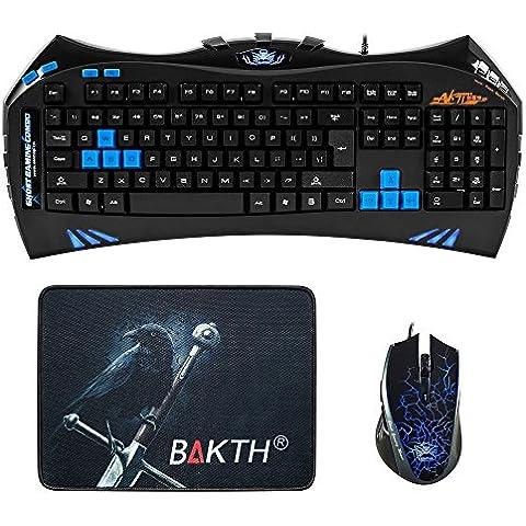 BAKTH BAKTH-K-XT71-AK - Teclado (retroiluminado, LED, USB - kit con ratón de 2400 dpi y alfombrilla), color negro y