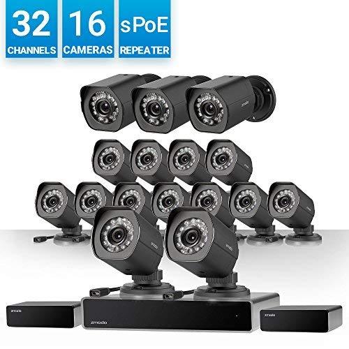 Zmodo 32 Kanal NVR Sicherheitssystem 16* HD IP Überwachungskamera mit sPoE-Repeater, ohne Festplatte Zmodo Dvr