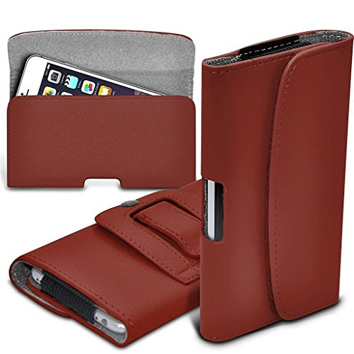 I-Sonite (Brown) Premium Horizontal Faux Leather Belt Holster Pouch Cover Case With Magnetic Closure For Apple iPhone 6