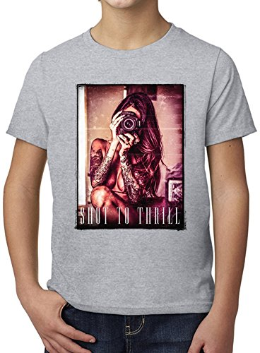 Shot To Thrill Ultimate Youth Fashion T-Shirt by Benito Clothing - 100% Organic, Hypoallergenic Cotton- Casual Wear- Unisex Design - Soft Material 12-14 years (T-shirt Shot Youth)