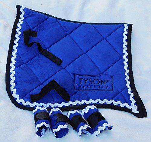 Tysons Breeches Antik Barock King Show Schabracke + 4 Bandagen Samt Minishetty Mini Shetty Royal Blau (Minishetty)