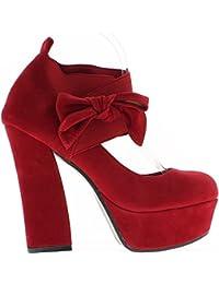 Escarpins rouges aspect daim à talons de 13cm et plateau de 4cm