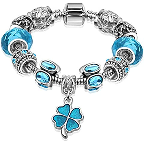 SaySure - Silver Plated Clover Charm Glass Bead Bracelet