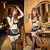 WXNLEAI Maid lencería erótica, cocina, dama, uniforme, tentación, archivo abierto, juego de rol ajustado, sexy mucama, perspectiva, traje de pasión, talla única, traje + medias