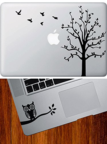 Combo Pack - Tree with Flying Birds - MacBook Laptop Vinyl Decal & Owl on Branch Design 1 - D1 - Trackpad/Keyboard - Vinyl Decal (Black) D1-combo