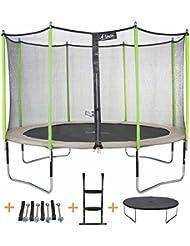 Kangui - Trampoline de jardin rond JUMPI ZEN avec filet de sécurité et accessoires – Ø 305 - 360 - 430 cm
