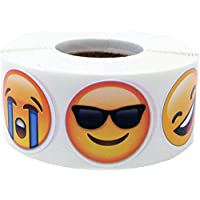 6 Different Emoticon Faces Emoji Circle Stickers, 25 mm 1 Inch Round, 500 Labels on a Roll