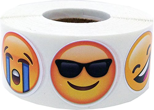 emoji aufkleber 6 Verschiedene Emoticon Gesichts Emoji Kreis Aufkleber, 25 mm 1 Zoll Runde, 500 Etiketten auf einer Rolle