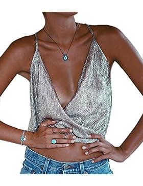 Baymate Mujeres Atractivo Sin Mangas Chaleco del Verano Crop Tops Blusa Cuello V Camiseta Tops Camisetas