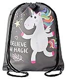 Aminata Kids - Kinder-Turnbeutel für Mädchen und Damen mit Unicorn Sache-n Pferd-e Haus-Tiere Einhorn Sport-Tasche-n Gym-Bag Sport-Beutel-Tasche Weiss rosa pink grau Stern-e Star Regenbogen
