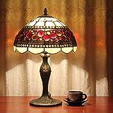 Gweat 12 pouces Pastorale Vintage Vitrail Style Tiffany Lampe De Table Lampe De Chambre Lampe De Chevet