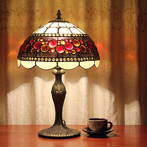 12-Zoll-Weinlese-Pastoral Glasmalerei Amerikanischer-Stil Tischlampe Schlafzimmer Lampe Nachttischlampe (Glasmalerei Tiffany-stil-lampe)