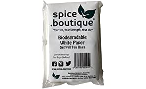 spice.boutique Self Fill Tea Bags (200), empty, drawstring (Ideal for all leaf Teas)