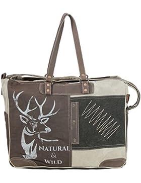 Sunsa Vintage Tasche Handtasche Schultertasche Wochenendtasche aus Canvas & Leder