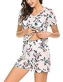 Pyjama Damen Zweiteiliger Schlafanzug Kurz Shorty Nachtwäsche Sleepwear Set Baumwolle/Viskose Blumen für Sommer