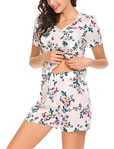 Pyjama Damen Zweiteiliger Schlafanzug Kurz Shorty Nachtwäsche Sleepwear Set Baumwolle/Viskose Blumen für Sommer - Womens Lounge L/s Shirt