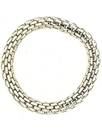 The Olivia Collection Silvertone Maximum Metal 8mm Elasticated Stretch Bracelet