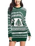 iClosam Weihnachtspullover Damen Lang Rentier Christmas Sweater Mit Rundhals (Grün1, L)