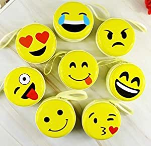 Problix Cute Smiley Yellow Emoji Metal Tin Pouch for Earphone, Coins, Memory Card, Pendrive and Jewellery - Pack of 12