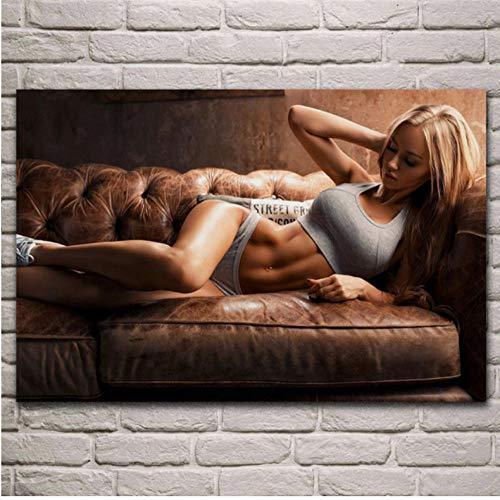 Fille Blonde modèle Gros Seins Filles aux Gros Seins Portrait Affiche Salon Maison Mur décoratif Toile Art Print 60x80cm_1