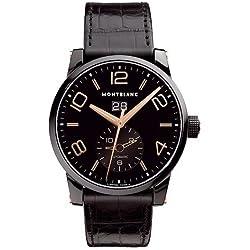 MONTBLANC TIMEWALKER 106066 GENTS BLACK CALFSKIN PVD STAINLESS STEEL CASE WATCH