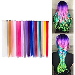 Beauty7 20pcs 20 inches Set de 20 Colores Pelucas Lacio Trenzas Color Extensiones de Cabello Clip Sintético Hair Extensions Accesorios de Pelo DIY Decoración Cosplay Fiestas Party