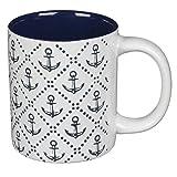 Tasse Anker weiß mit maritimen Anker-Muster in 3D Prägung, als Kaffeetasse oder Teebecher, aus Steingut, Höhe 9,5 cm, Durchmesser 8 cm, spülmaschinenfest und mikrowellengeeignet