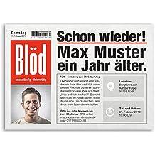 Einladungskarten Geburtstag (30 Stück) Zeitung Nachrichten Meldung Magazin  Ausgefallen Lustig Witzig Geburtstagseinladungen Karte Einladungen