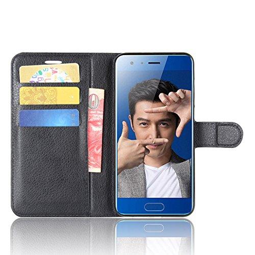 Per Huawei Honor 9 5.2' Custodie e cover,OFU PU+TPU portafogli in pelle fondina Per Huawei Honor 9 5.2' Telefono Caso+staffa(Huawei Honor 9 5.2',nero)