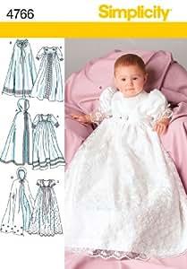 Simplicity Sewing Pattern 4766 une Robe de baptême de bébé