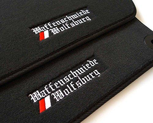 kh Teile Fußmatten/Velours Automatten Premium Qualität Stoffmatten 2-teilig schwarz mit Bestickung Waffenschmiede Wolfsburg (Kfz-zubehör Volkswagen Jetta)
